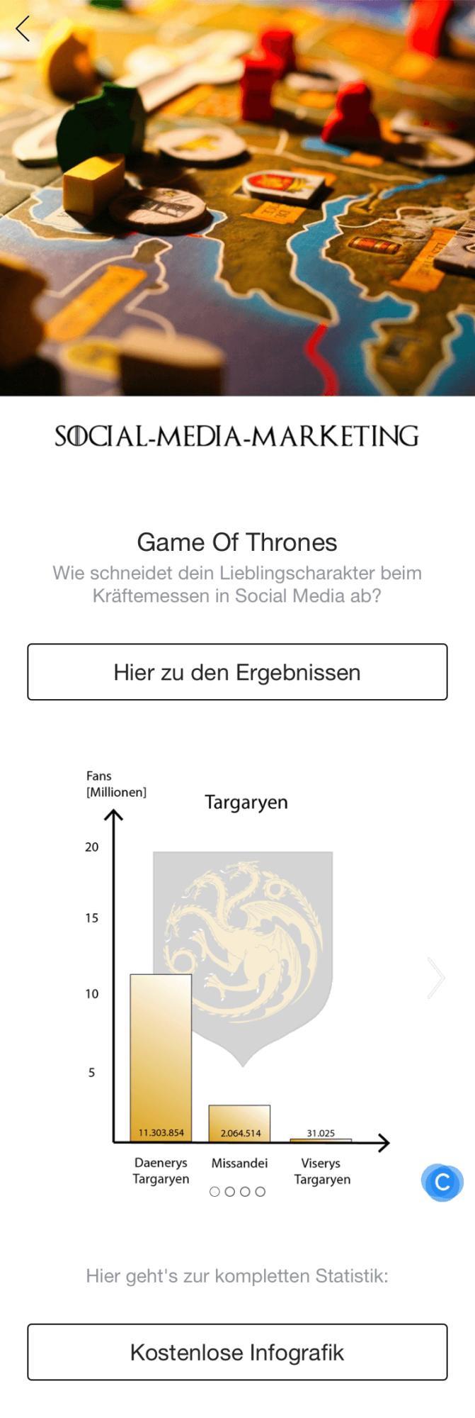 Facebook Canvas zu Game of Thrones^