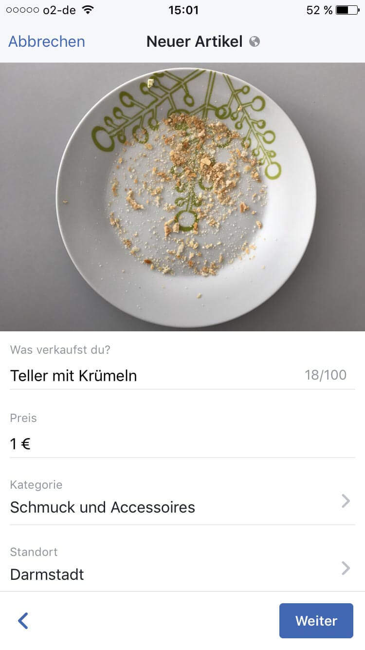 Artikel im Facebook Marketplace