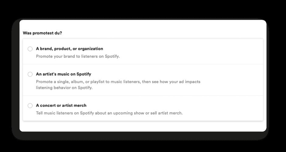 Erstellungsmaske Spotify